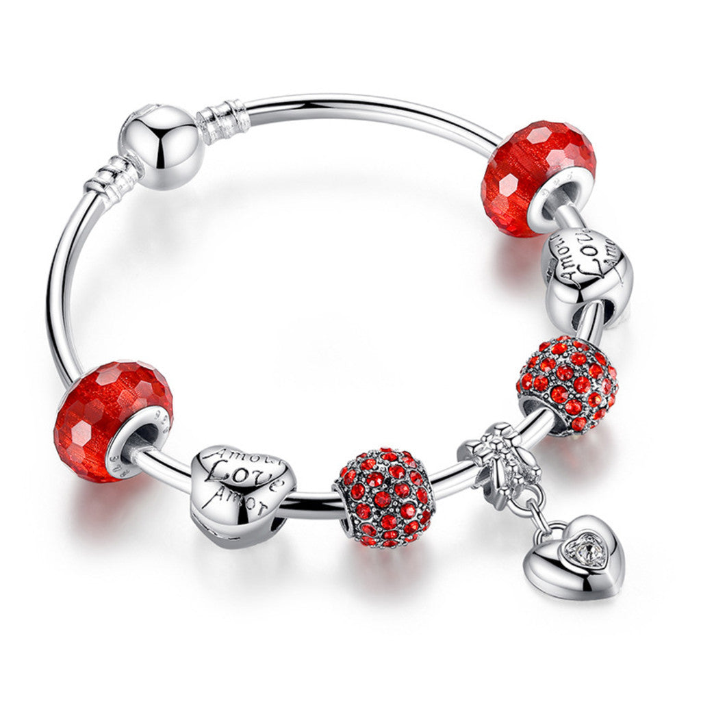 Silver Charm Bracelet & Bangle with Heart Pendant & Red Crystal Ball LOVE Charm Friendship Bracelet,PA009