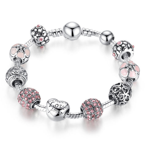 Antique 925 Silver Charm Bangle & Bracelet with Love and Flower Crystal Ball Women Wedding Valentine's Day Gift,PA010