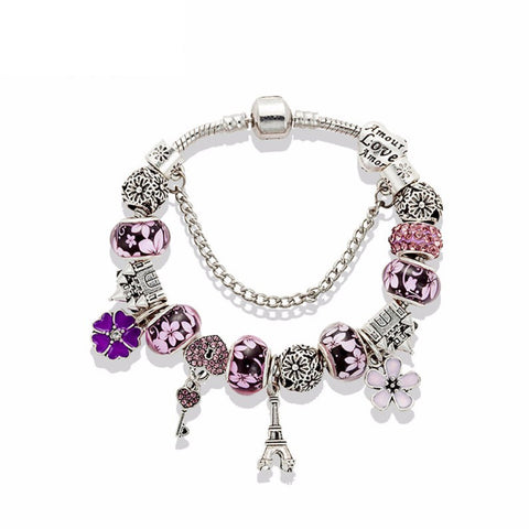 Eiffel Tower & Castle Charm Bracelet,2 color to choose, PA012