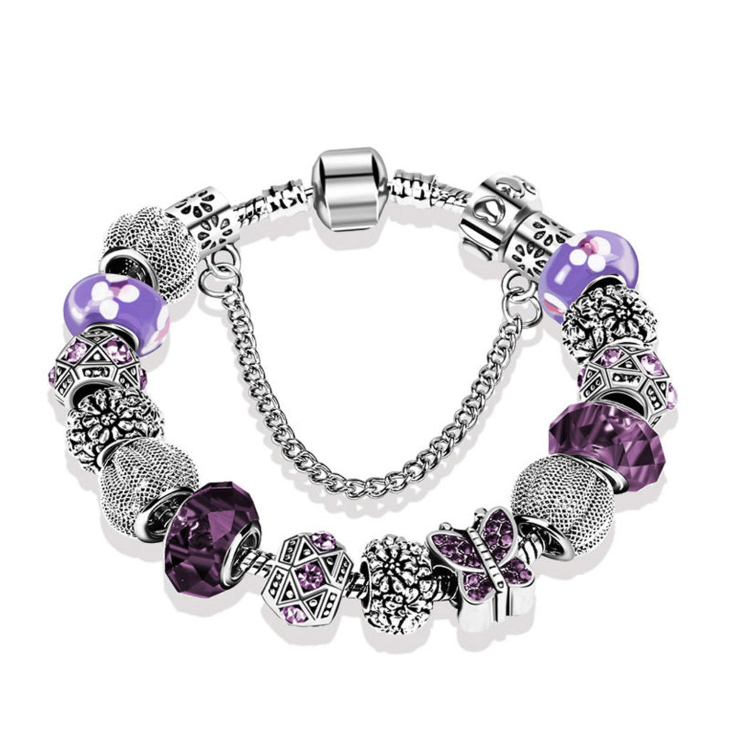 Fashion Butterfly Glass Crystal Beaded Charm Bracelet,PA014