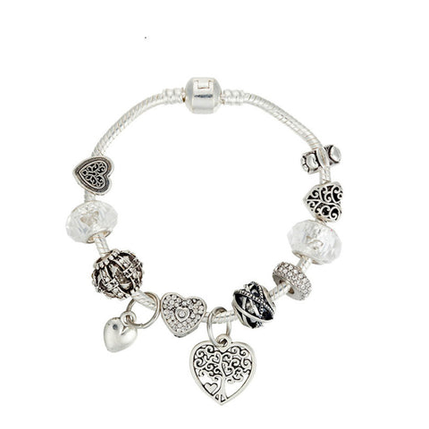 Fashion jewelry life tree white crystal beaded bracelet, PA018