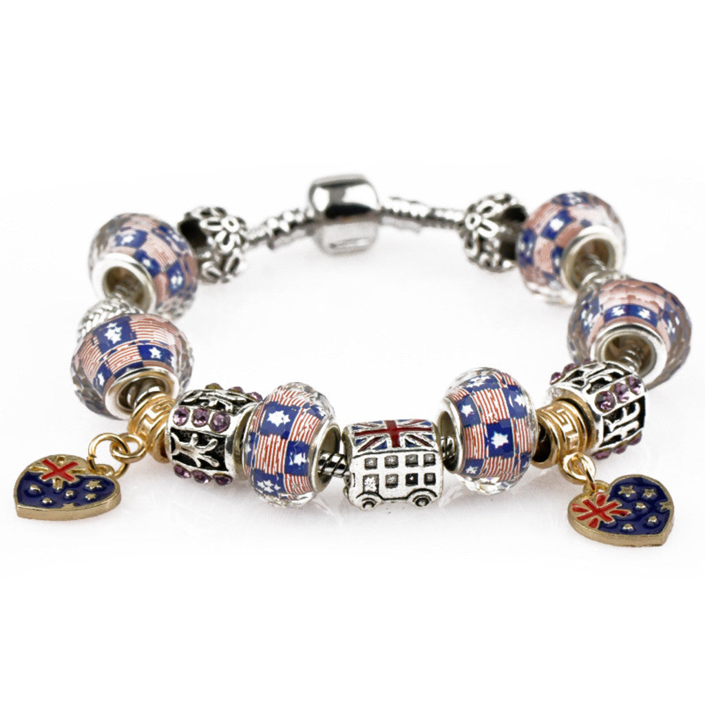 UK Flags charm bracelet, PA023