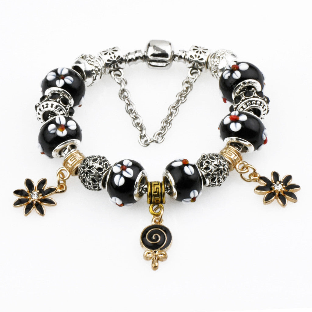 Beautiful Black Charm Bracelet, PA025