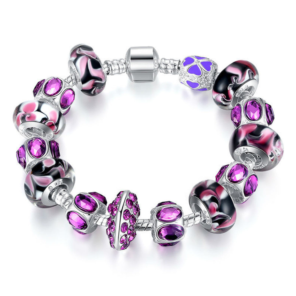 925 Silver Charm Bracelet with Purple Murano Glass Beads DIY Fashion Jewellery, PA027