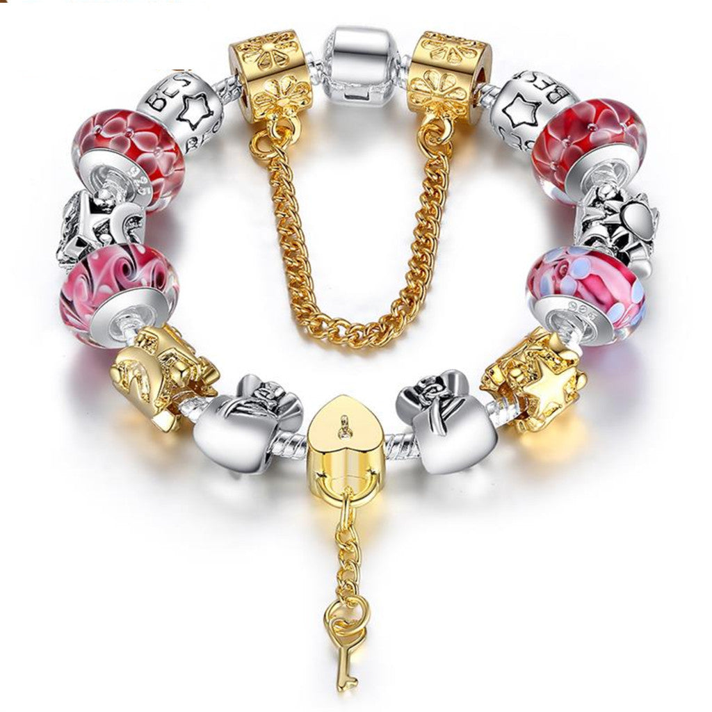 Charm Bracelet With Luxury Glass Beads for Women Unique Design Silver Plated Bracelet & Bangle, PA030