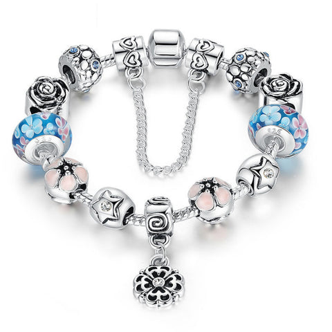 Silver Exquisite Glass Bead Bracelet With Safety Chain Luxury Strand Bracelet Jewelry, PA032