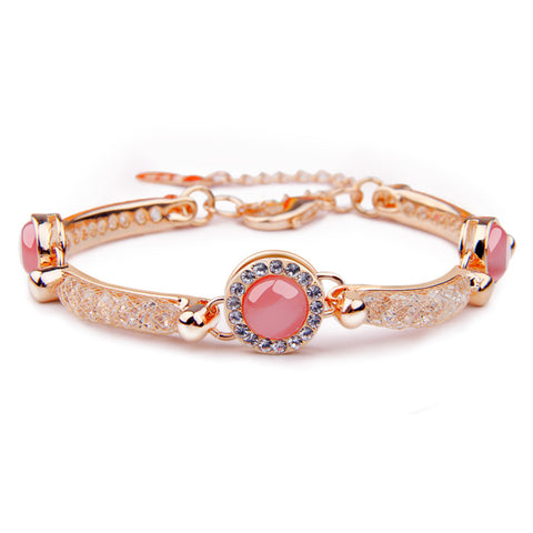 Luxury Rose Gold Plated Bracelet with Red Opal For Women Wedding AAA Zircon Crystal Jewelry,PA033