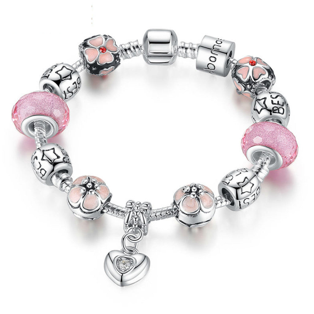 925 Silver Charm Bracelet with Heart Pendant & Cherry Blossom Charm Pink Murano Glass Beads Friendship Bracelet , PA034