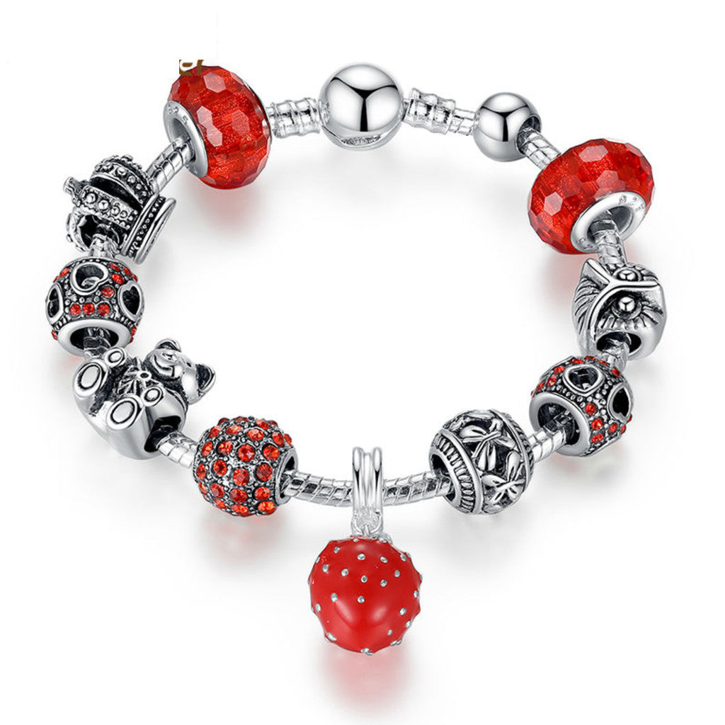 Silver Plated Charm Bracelet & Bangle with Crown & Bear Charm & Heart Crystal Ball Red Murano Glass for Women, PA035