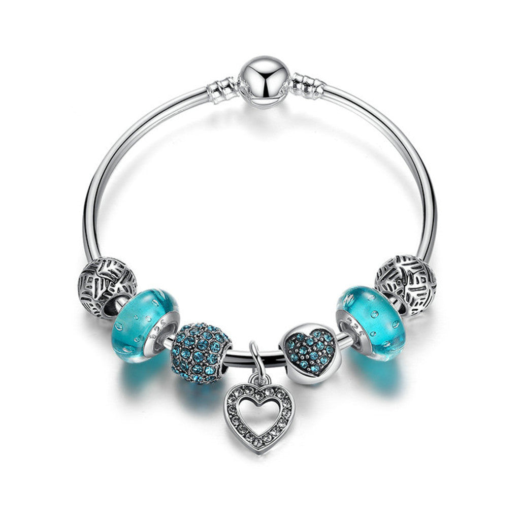 Romantic Vintage Bracelets Silver Plated Heart Pendant Charm Bracelets & Bangle with Blue Beads Jewelry, PA036