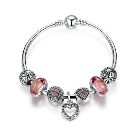 omantic Vintage Bracelets Silver Plated Heart Pendant Charm Bracelets & Bangle with Pink Beads Jewelry, PA037