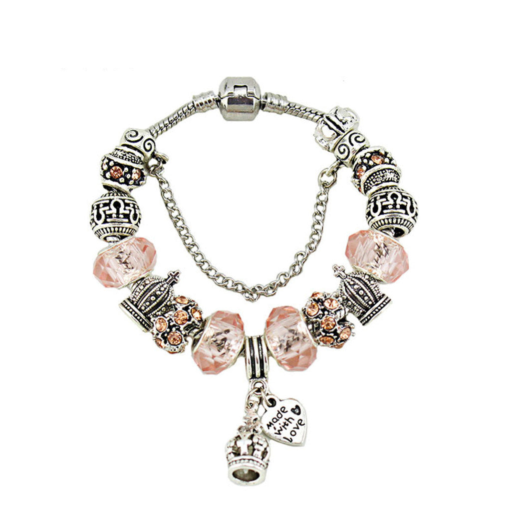 Crown Pendant Crystal Glass Beads Beaded Bracelet, PA041
