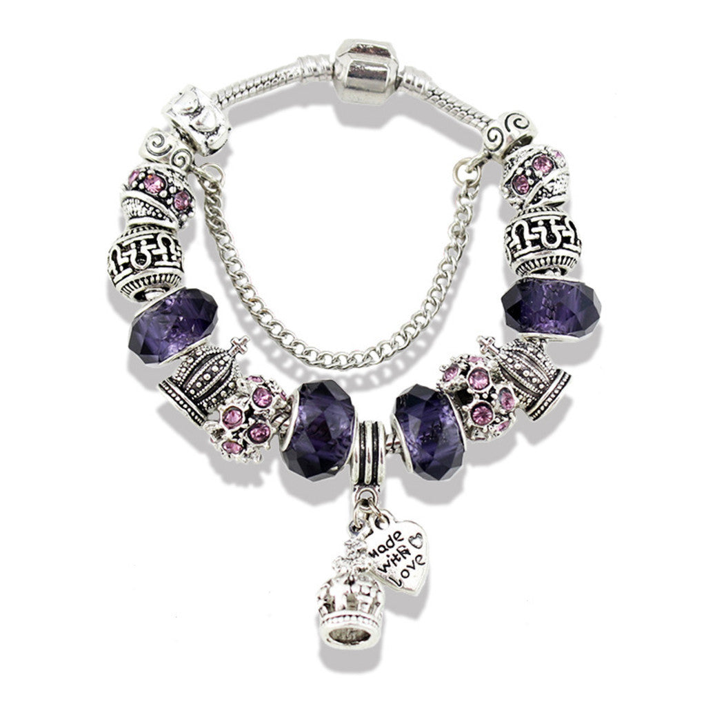 Crown Pendant Crystal Glass Purple Beads Bracelet