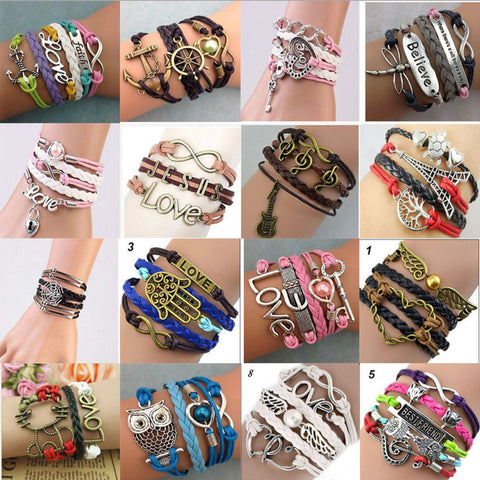 37 styles Vintage fashion multilayer leather bracelet, PG001