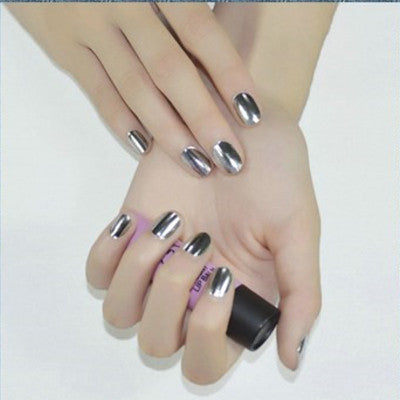 Shiny Silver Nail Wraps, 12pcs, RC002