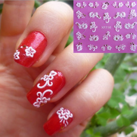 Top Fashion 3D Nail Art Stickers, XF716, 10+ designes to choose