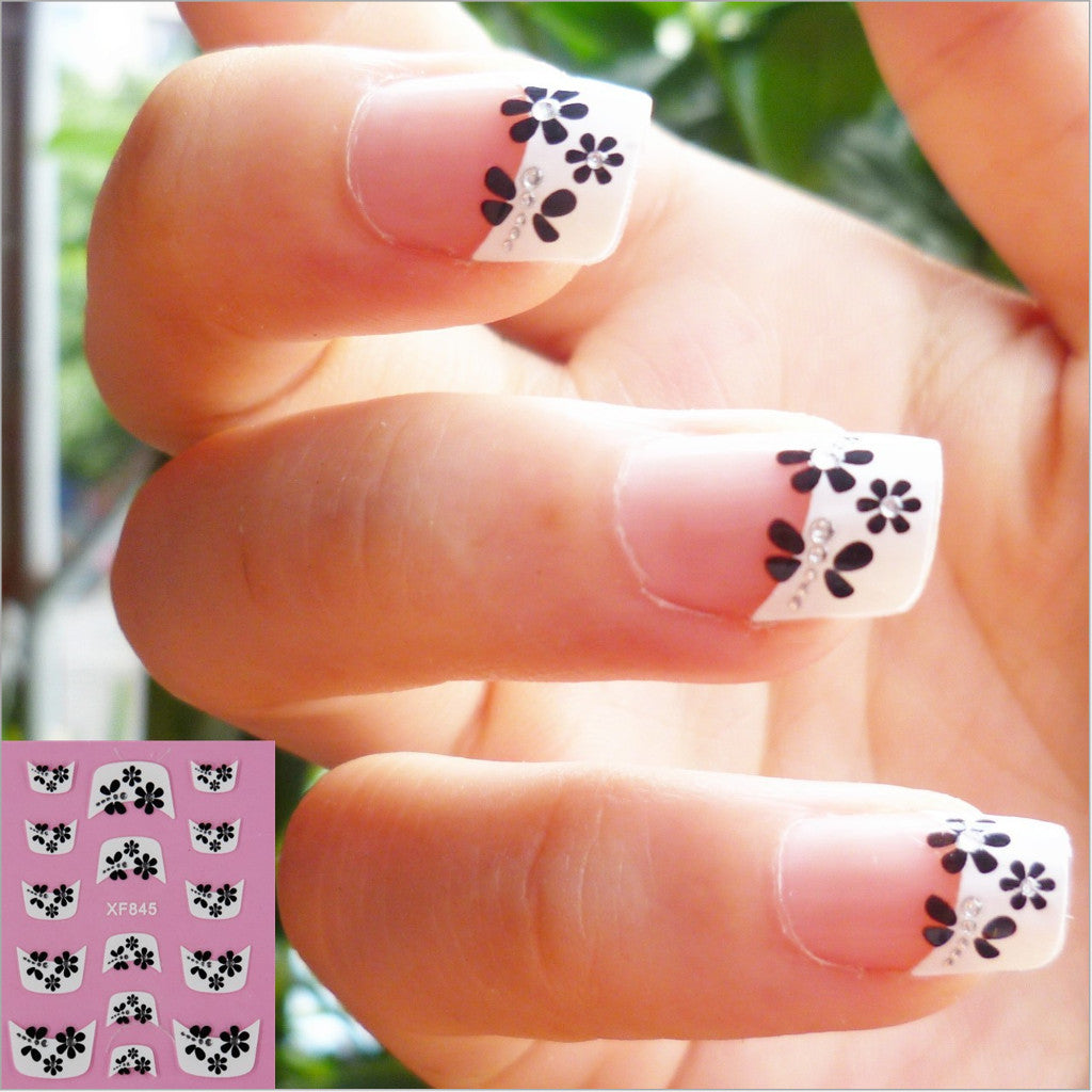 French 3D HALF White Nail Stickers, XF845