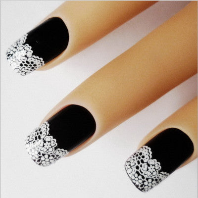 French 3D HALF White Nail Stickers, XF872