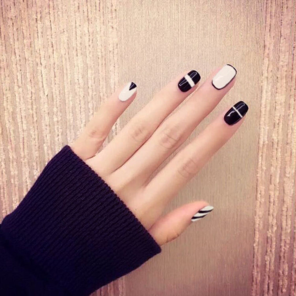 Black and white false nails, 24pcs/box, YT003