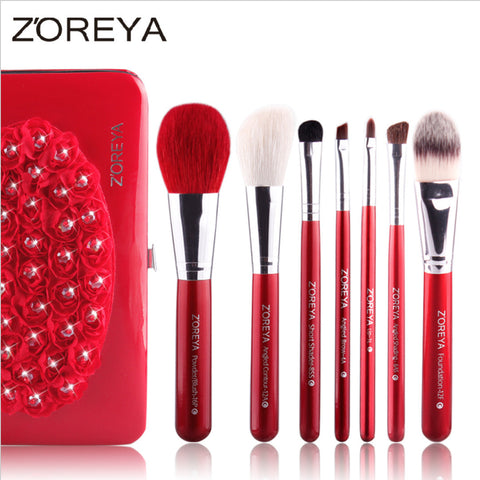 7pcs Goat Hair Makeup Brush Set Cosmetic Brushes, ZY001