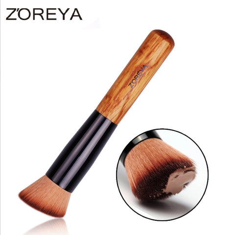 Oblique Style Foundation Brush Wood Blush Makeup Tool Wooden Handle Multi-Function Mask Brushes, ZY006