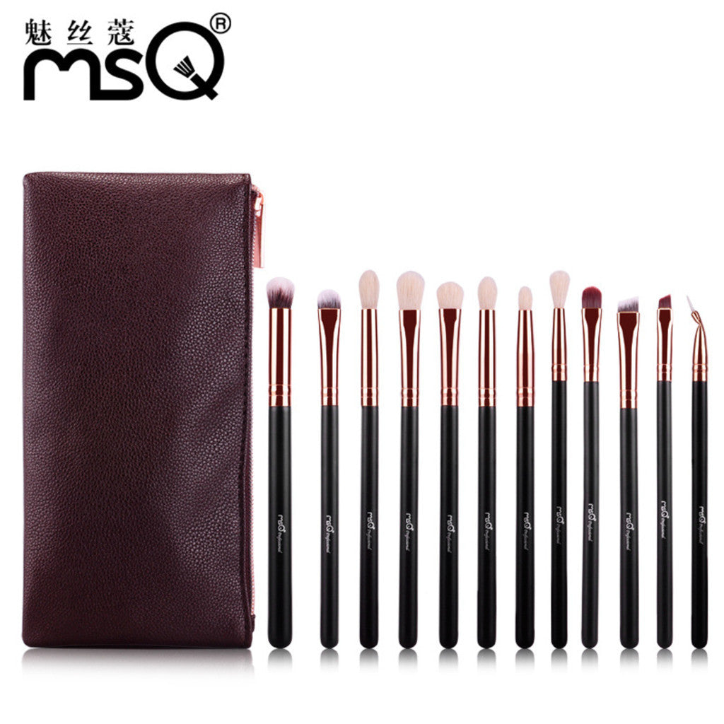 12pcs Professional Eyeshadow Makeup Brushes Set Rose Gold Aluminium Ferrule Animal Hair With PU Leather Case, MSQ006