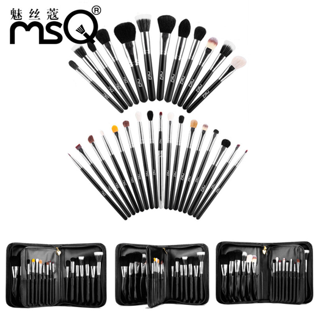 Hot Professional Makeup Brush Set 29-pc Kit High Quality Animal Hair With Black PU Leather Case, MSQ007