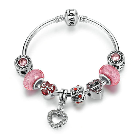 Silver Love Chain Bangle & Bracelet with Pink Heart Charms & Glass Beads Bracelet Jewelry, pa040