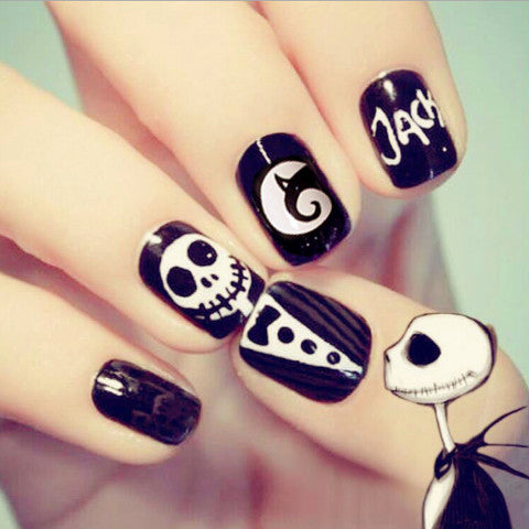 Skull Black Fake Nails, YT016