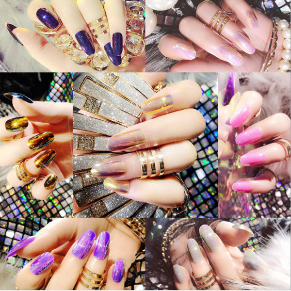 Magic Light Mirror Bright Colour Fake Nails, 15 Colours. YT024