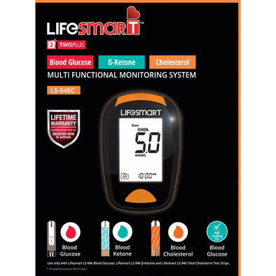 LifeSmart - Blood Ketone + Glucose + Cholesterol Multifunction Tester