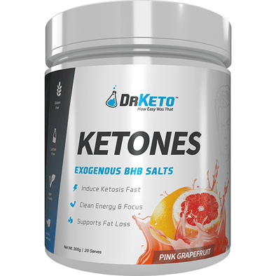 Dr Keto Exogenous BHB Ketones - Pink Grapefruit 20 Serves 300g - Ketogenic Supplies