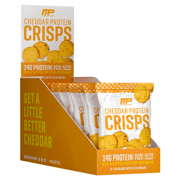Musclepharm Crisps Protein Cheese Crisps - Cheddar - MusclePharm - Box of 12 - 336g