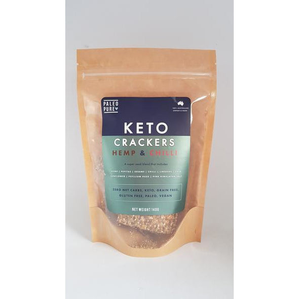 Keto Crackers - Hemp & Chilli - Paleo Pure - 140g - Ketogenic Supplies