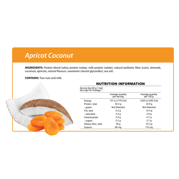 Smart Protein Bar - Apricot Coconut - Box of 12 - 720g - Ketogenic Supplies