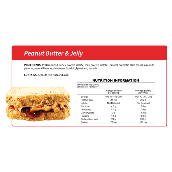 Smart Protein Bar - Peanut Butter & Jelly - box of 12 - 720g - Ketogenic Supplies
