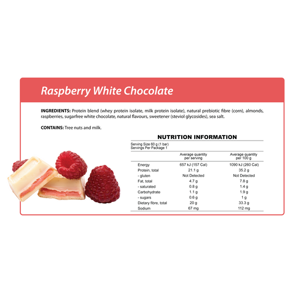 Smart Protein Bar - Raspberry White Chocolate - Box of 12 - 720g - Ketogenic Supplies