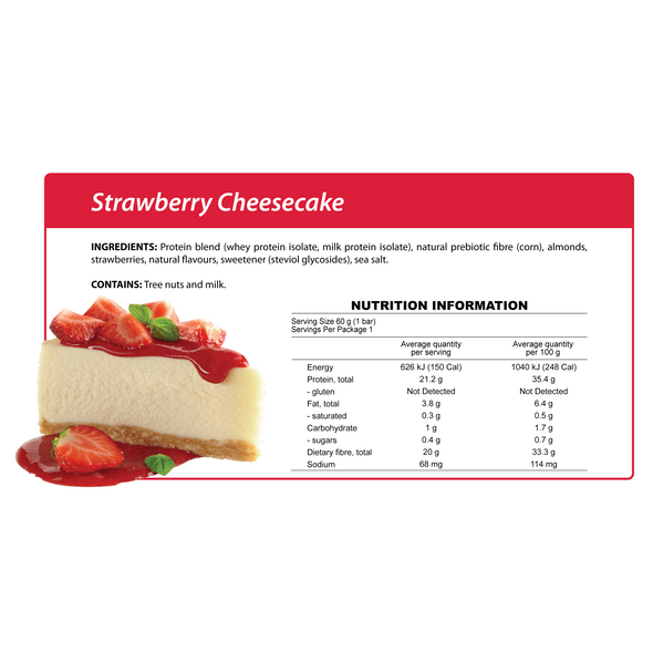 Smart Protein Bar - Strawberry Cheesecake - Box of 12 - 720g - Ketogenic Supplies