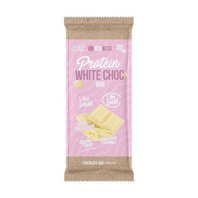 Keto Protein Chocolate - White Chocolate 100g Bar - Ketogenic Supplies