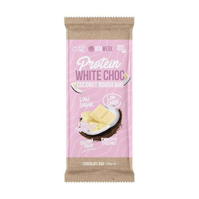 Keto Protein Chocolate - White Chocolate Coconut Rough 100g Bar - Ketogenic Supplies