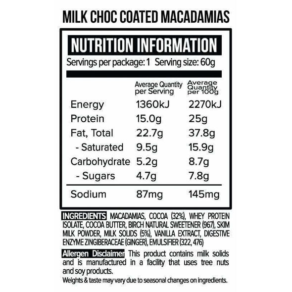 Vita Werx Chocolate Protein Milk Keto Chocolate Coated Macadamias - 60g