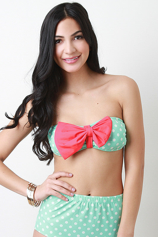 Polka Dot And Bow Bandeau Top