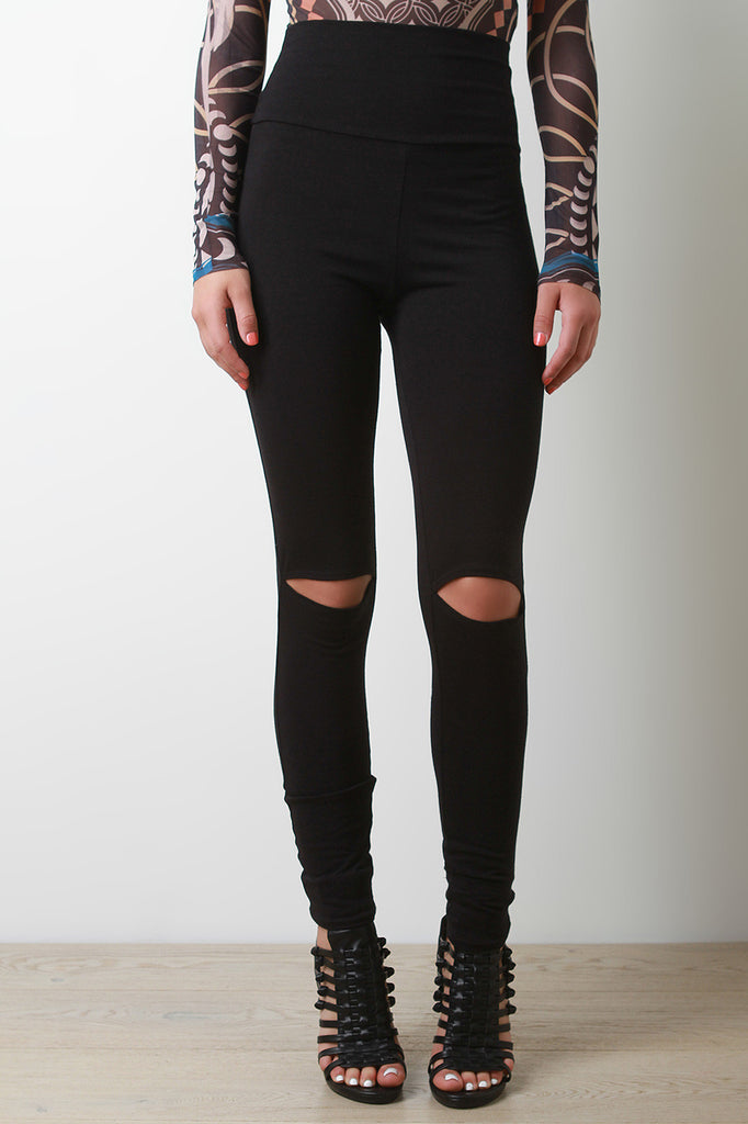 High Waist Knee Cut Out Leggings