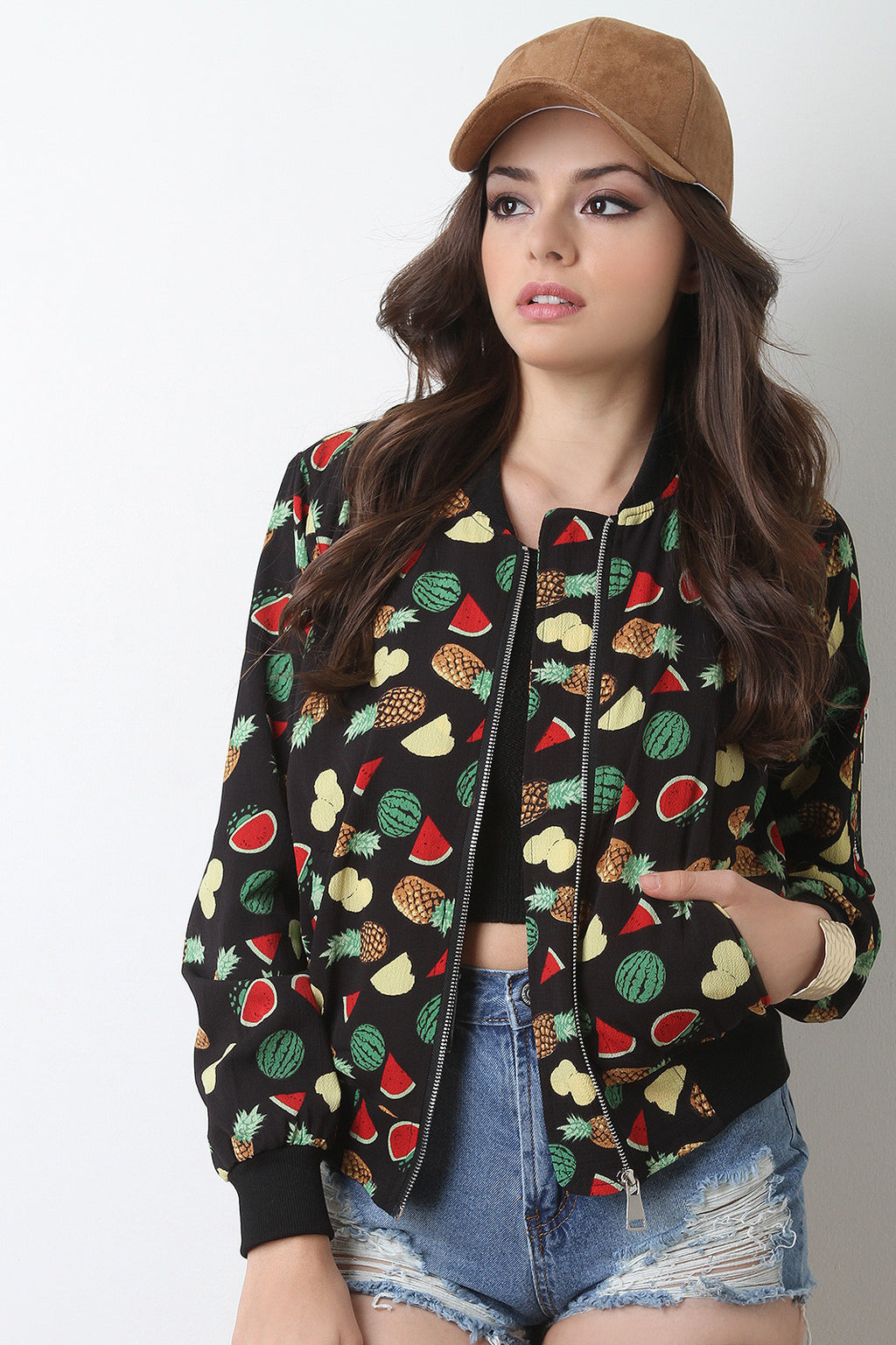 Fruit Print Zip Up Bomber Jacket