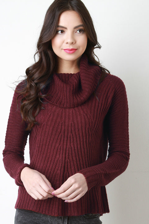 Cowl Neck Back Vent Knitted Sweater