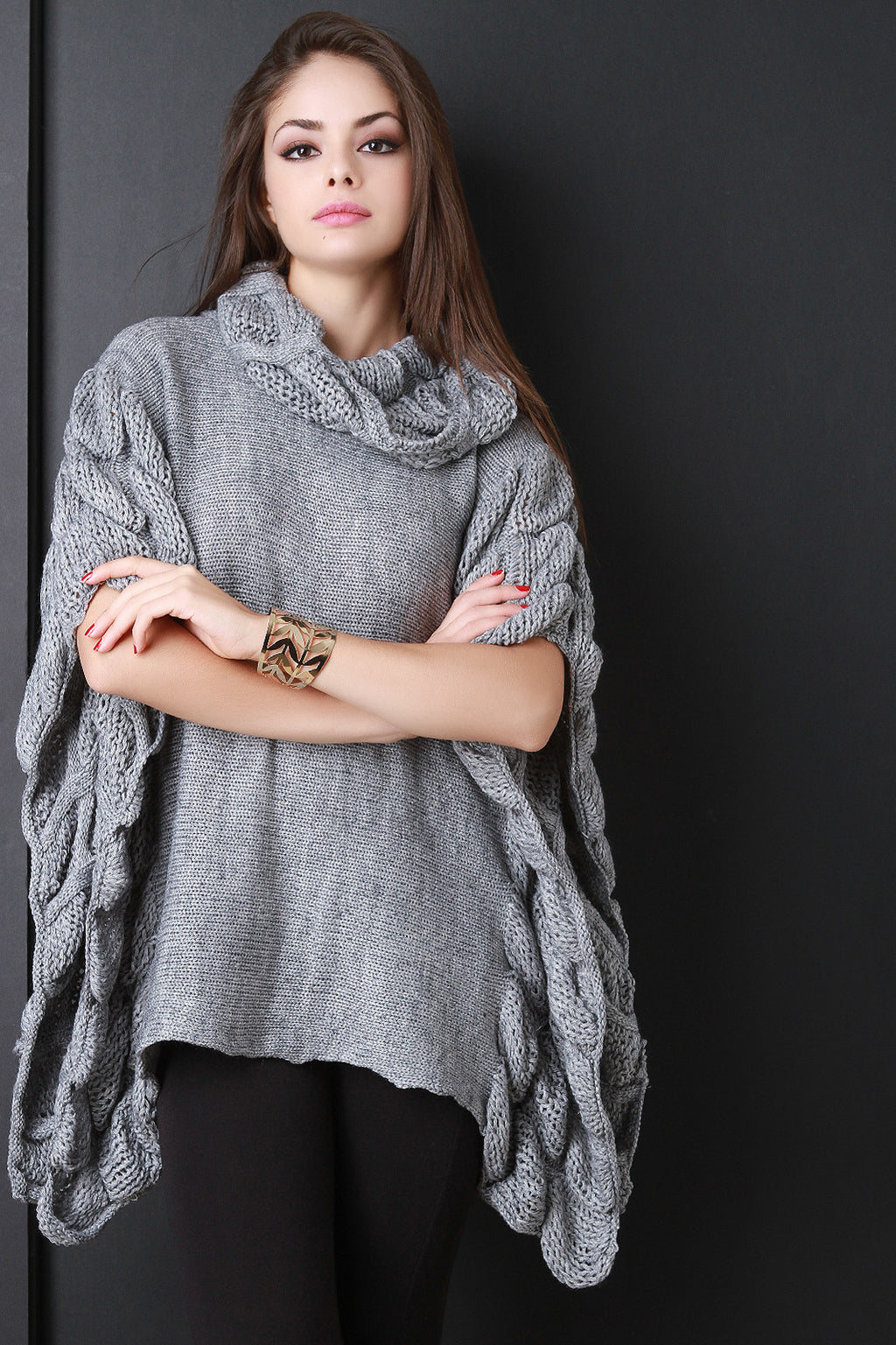 Quilted Knit Turtle Neck Poncho Top