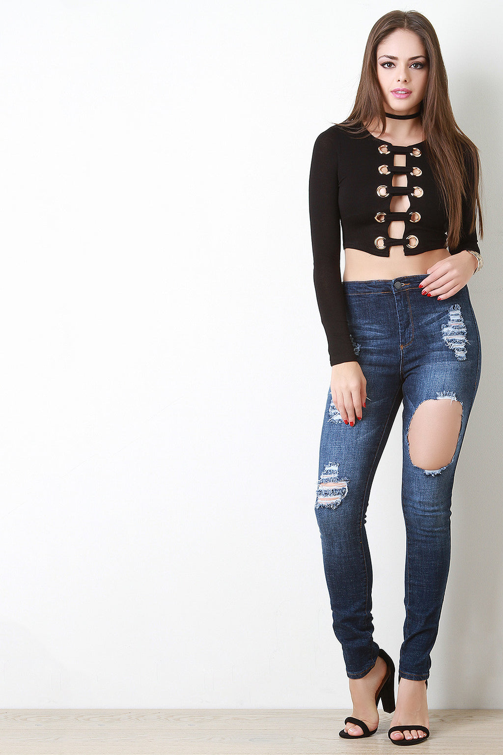 Distress High Waisted Two Pocket Jeans