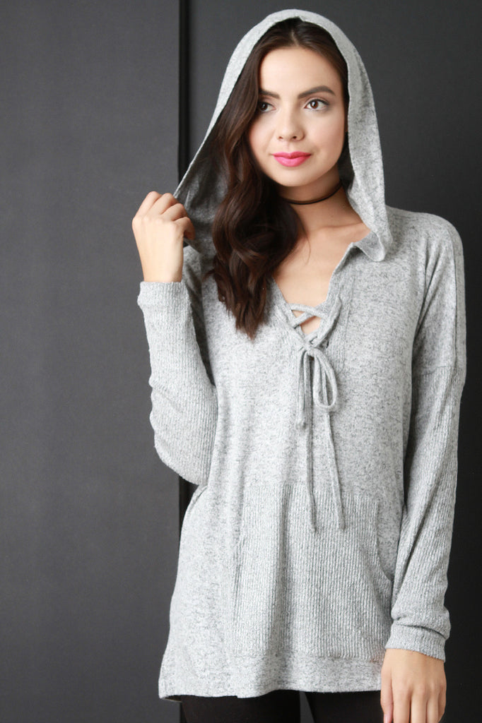 Rib Knit Contrast Boxy Pull Over Hooded Sweater
