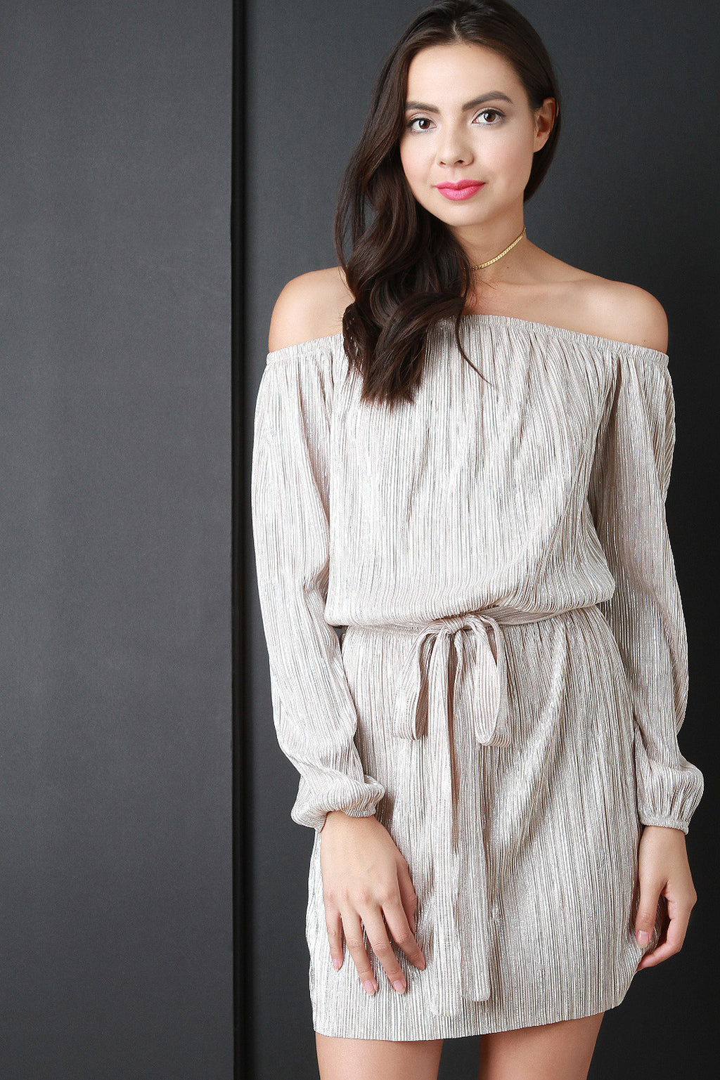 Shimmer Pleated Off The Shoulder Mini Dress