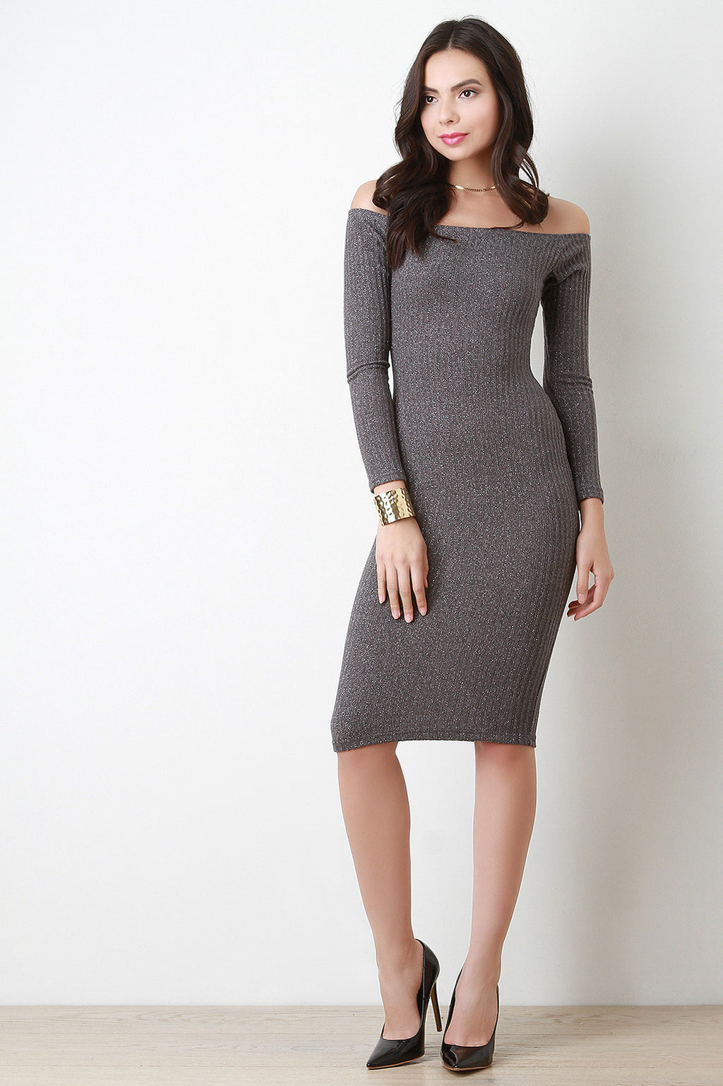 Metallic Shimmer Bodycon Bardot Dress
